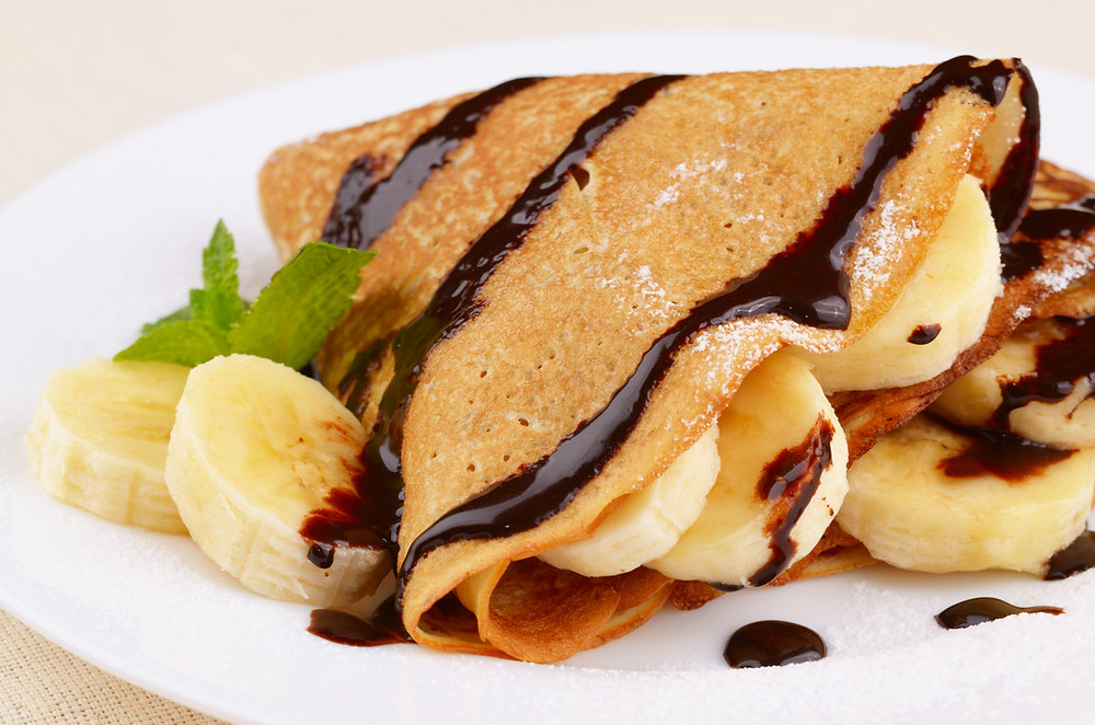 Chocolate Banana Crepes by Stacey Antine, MS, RD, Bergen County Moms