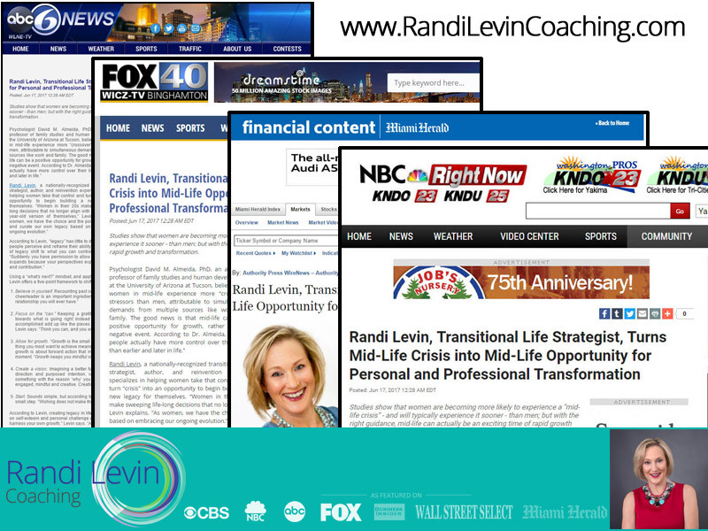 Randi Levin, Transitional Life Strategist, Turns Mid-Life Crisis into Mid-Life Opportunity for Personal and Professional Transformation