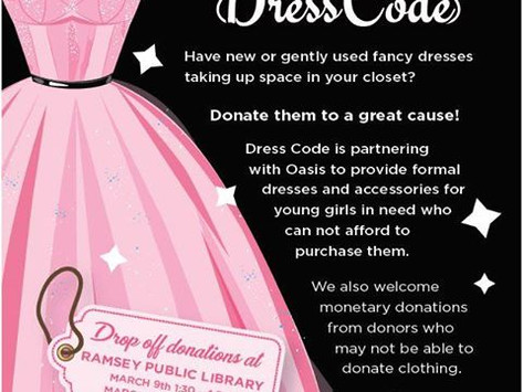 Dress Code Donation Drive for Oasis | Drop Off at Ramsey Library 3/9 + 3/17
