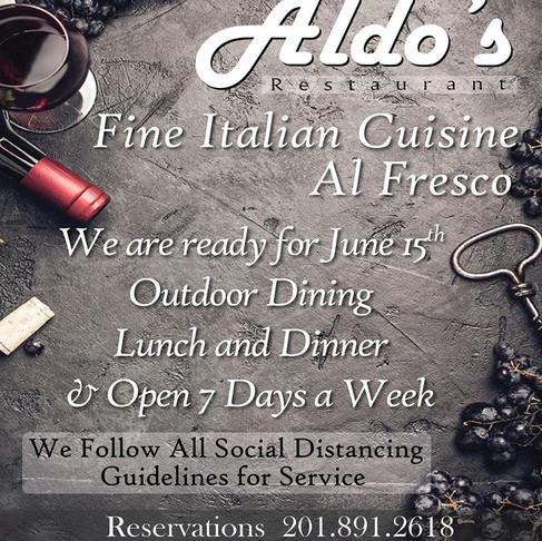 Aldo's Restaurant is Open for Outdoor Dining June 15th