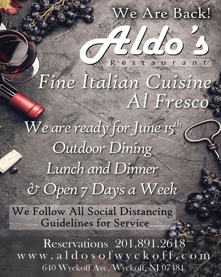 Aldo's Restaurant is Open for Outdoor Dining June 15th, Bergen County Moms