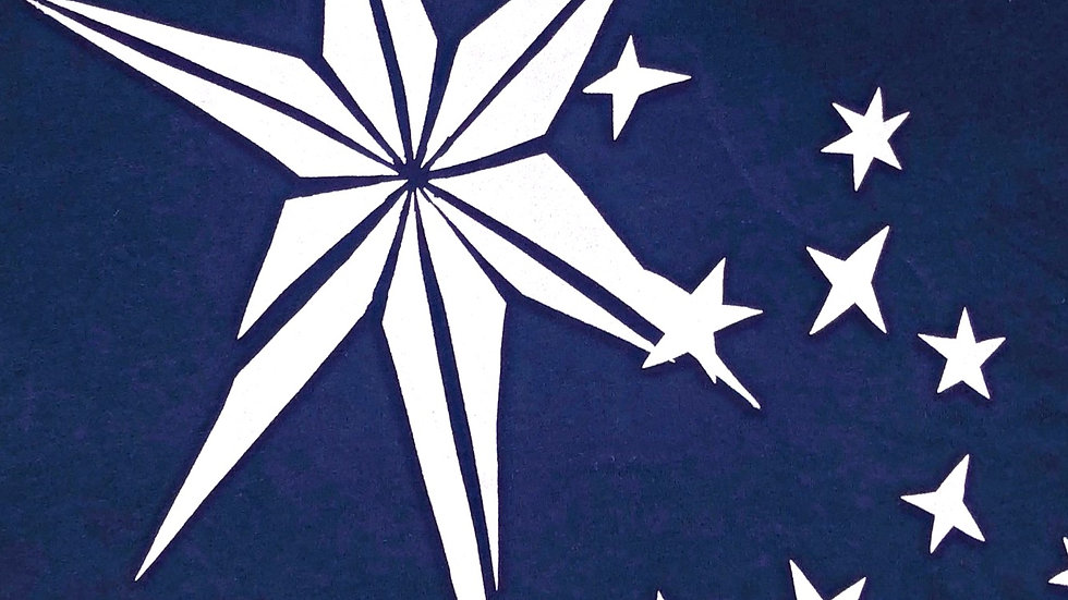Organic Cotton You're a Star Silver on French Navy w Grey Trim Short Sleeve Tee