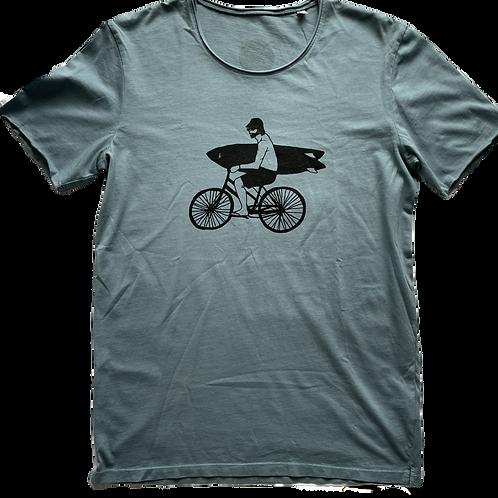Organic Cotton Slate on Citabel Blue Bike Guy Short Sleeve Tee