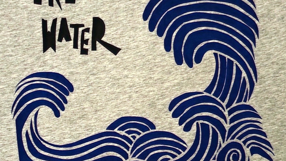 Organic Cotton Become Like Water Grey w French Navy Trim Tee