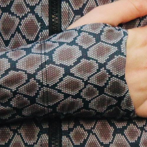 TALLOW zip front long sleeve UPF50+ rash top I SNAKESKIN regenerated