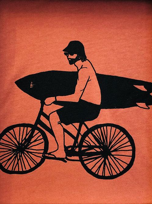 Organic Cotton Slate on Salty Pink Bike Guy Short Sleeve Tee