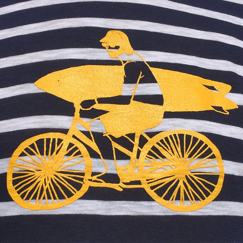 Organic Cotton Yellow Bike Guy on Navy/White Long Sleeve Stripey Tee