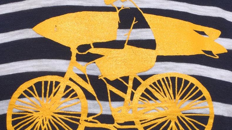 Organic Cotton Yellow Bike Guy on Navy/White Long Sleeve Stripey Tee