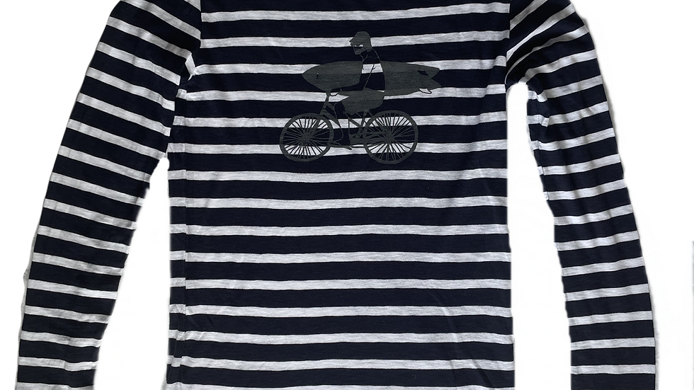 Organic Cotton Slate Bike Guy on Navy/White Long Sleeve Stripey Tee