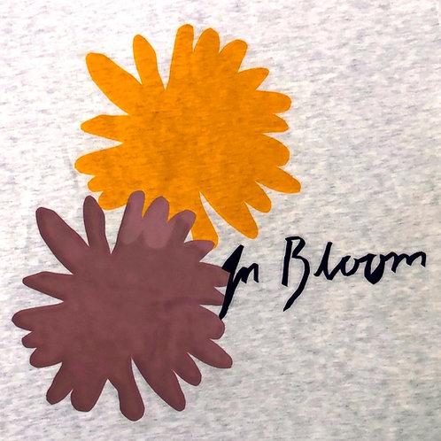 Organic Cotton In Bloom on Cream Marle w Cranberry Trim Short Sleeve Tee