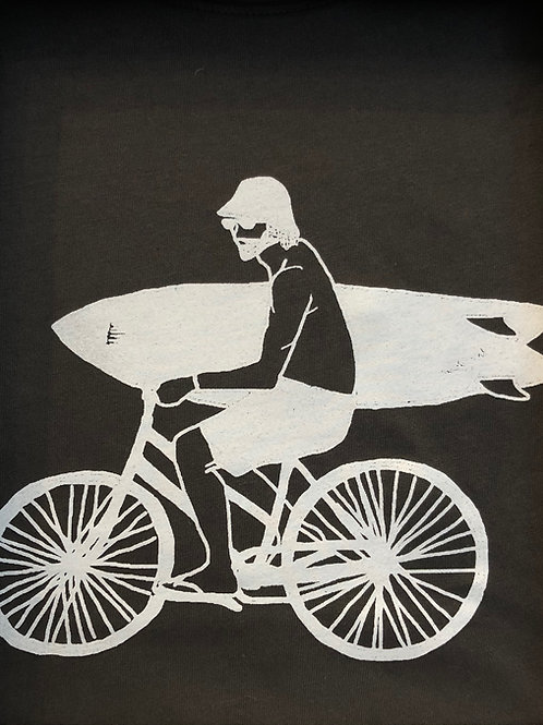 Organic Cotton Slate on Anthracite Bike Guy Short Sleeve Tee