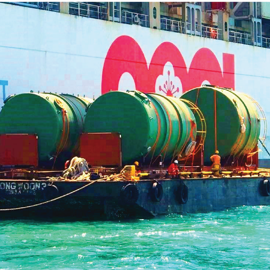 DIRECT DELIVERY OF OVERSIZED CARGOES ONTO BARGE & TUG FOR WATERBORNE TRANSFER AS AN ALTERNATIVE TO OVERLAND TRANSPORTATION