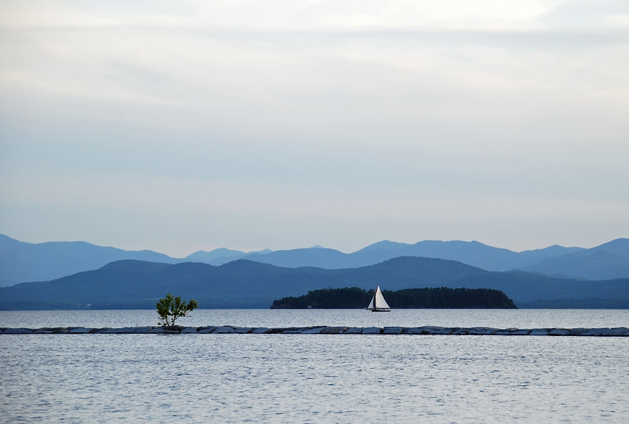 Naimul Karim Naim personal website photography Lake Champlain Vermont dusk aquamarine sailboat blue hue