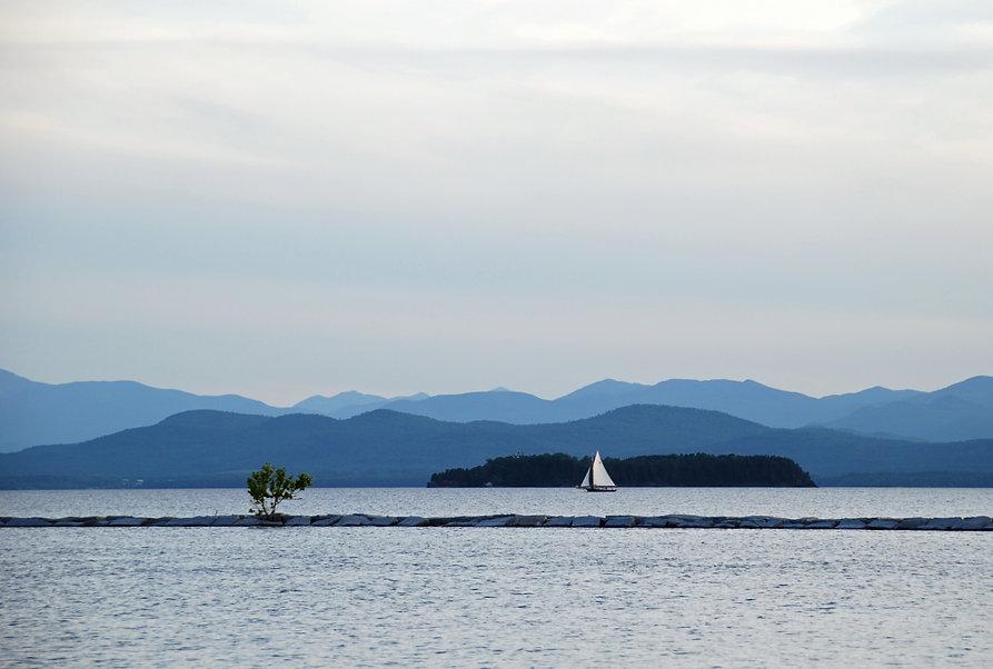 Naimul Karim Naim personal website photography Lake Champlain Vermont dusk aquamarine sailboat blue hue