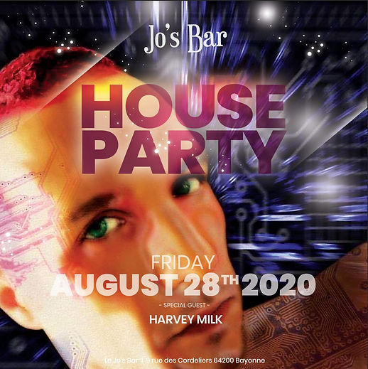 Events Jo's Bar Josbar Josbar64 Bayonne House Party 28 augustus 2020 Special Guest Harvey Milk