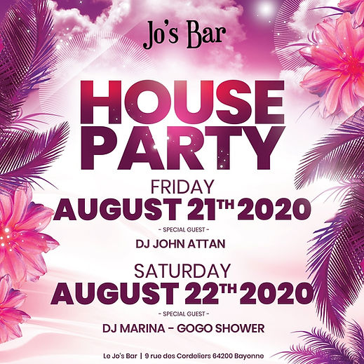 Events Jo's Bar Josbar Josbar64 Bayonne House Party 21 augustus 2020 JosBar64 Bayonne DJ John Attan. Saturday 22 augustus 2020 DJ Marina