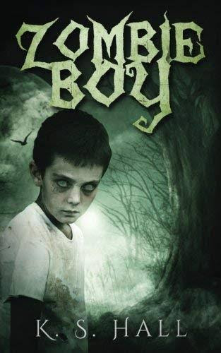 Boy zombie with creepy eyes and a spooky background
