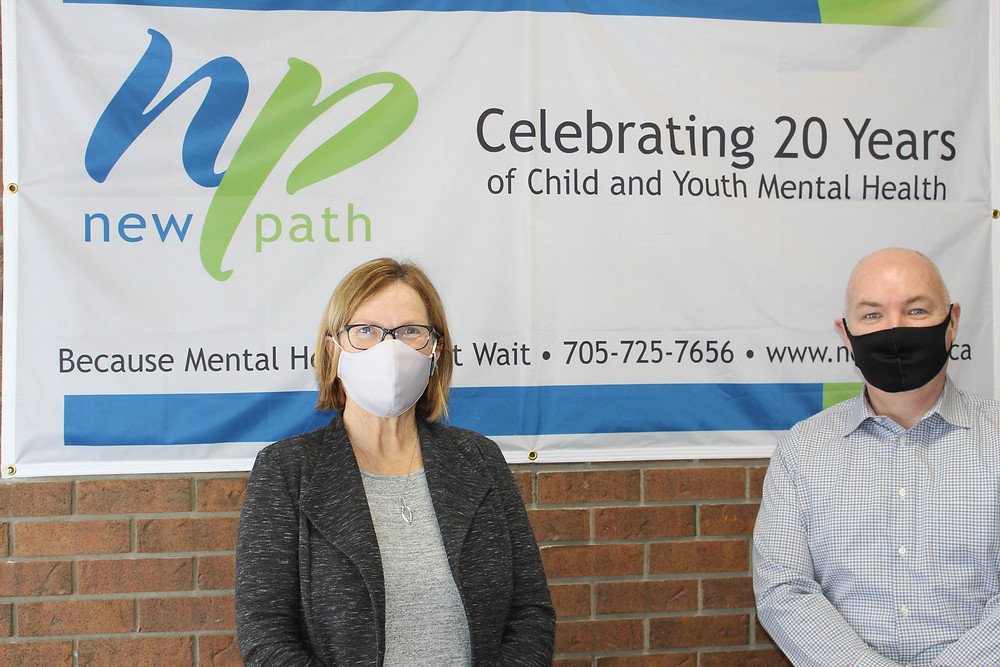Elizabeth McKeeman, CEO of New Path Youth & Family Services and James Thomson, President and CEO of New Path Foundation pictured together at the Barrie Common Roof on Ferris Lane.