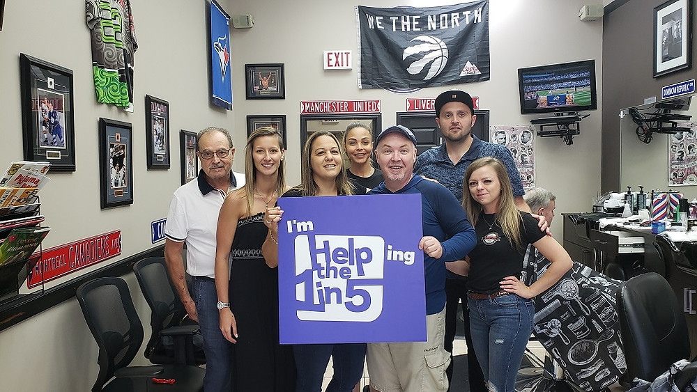 Pictured from left to right are: Carmen, Ali, Grace, Angela, James Thomson, New Path Foundation President and CEO, Mike and Kinga.