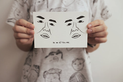 Postcard | We are all the same|活版印刷