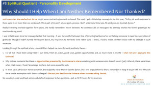 #8 Why Help When Am Neither Remembered Nor Thanked?