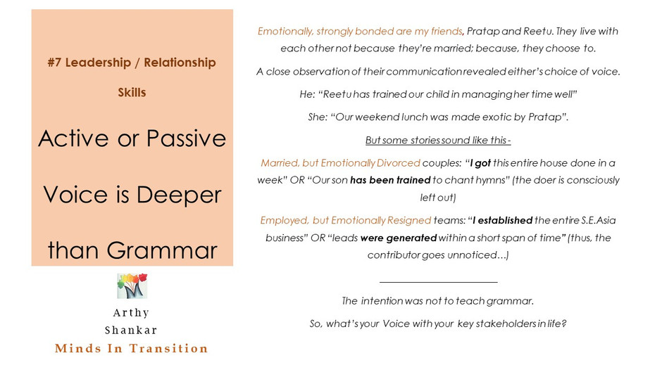 # 7 Leadership / Relationship Skills - Active or Passive Voice is Deeper than Grammar