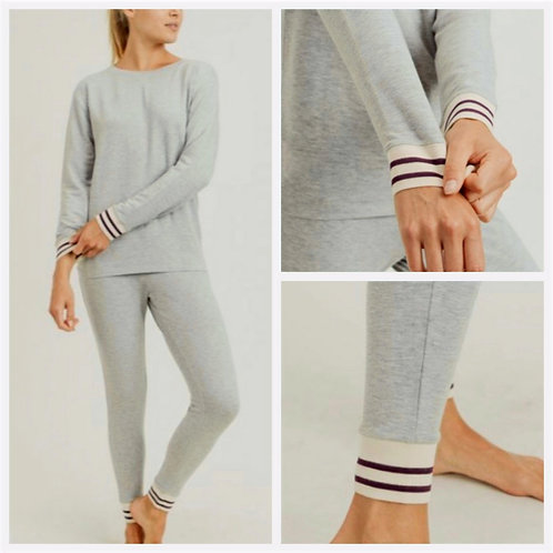 Striped Cuff Melange Comfy Set