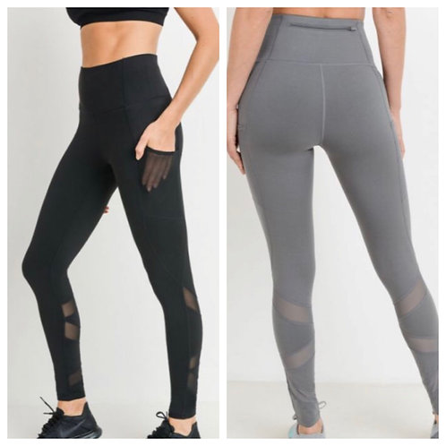 High Waist Zig Zag Mesh Pocket Full Legging