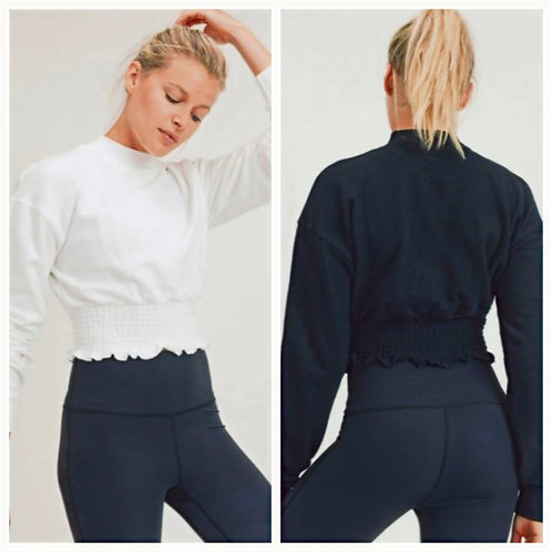 Cropped Pullover Shirring Top