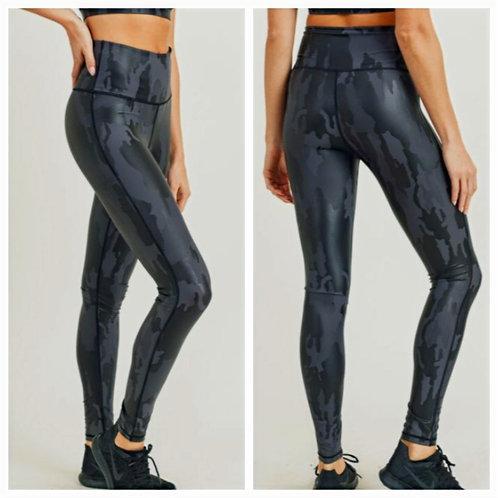 Camo Black Foil Leggings
