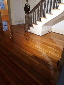 Refinished 250 year old hardwood floor at Belle Hampton Farm