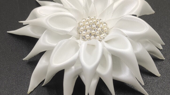 Overlay Jeweled Flower Pin