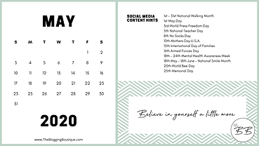 May 2020 Key Calendar Dates Content Trig