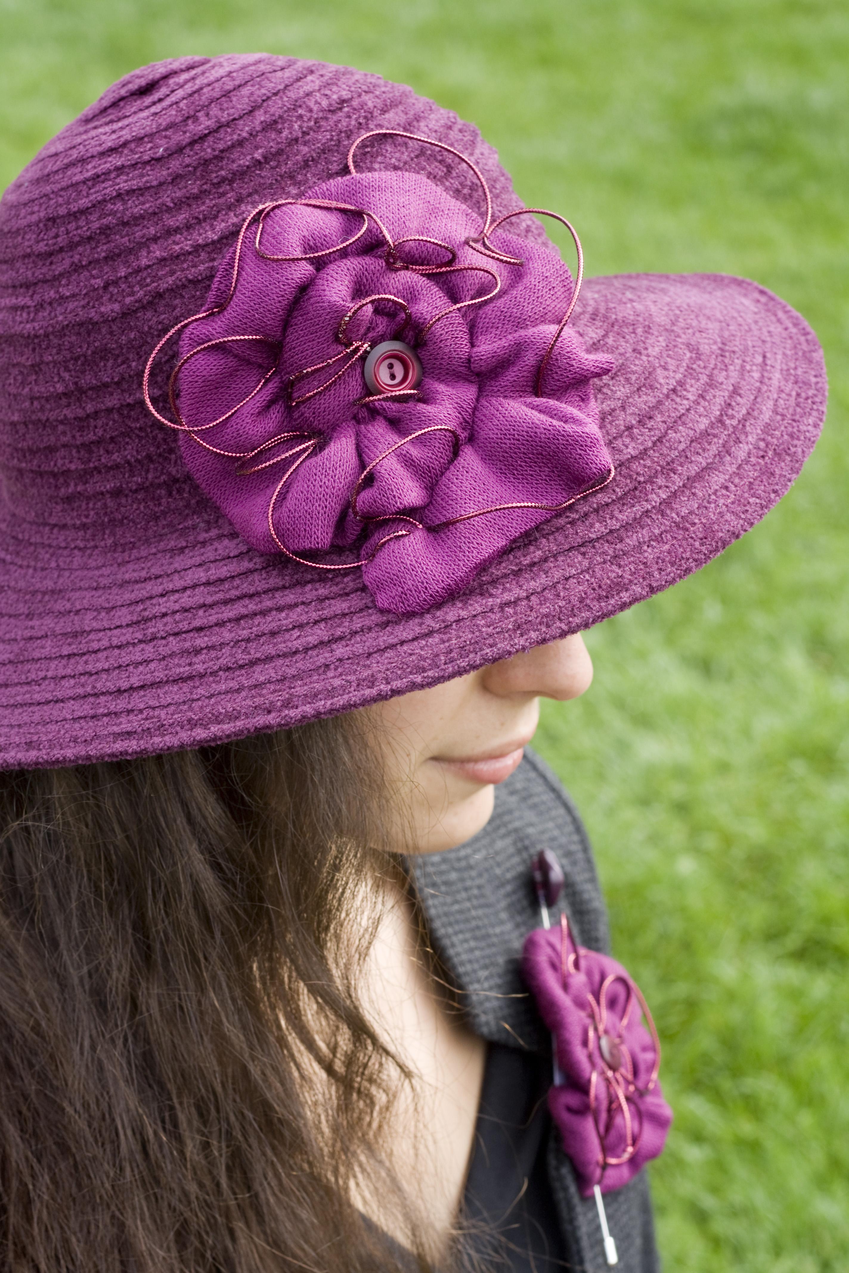 Chapeau hiver prune violet