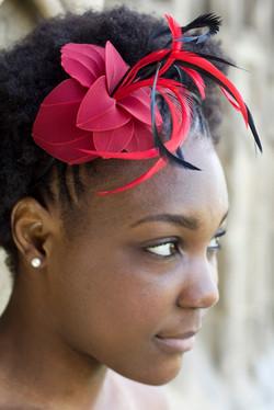 Bijou de cheveux bordeaux et noir