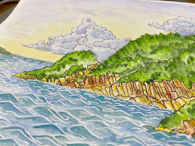 Outdoor watercoloring Big Wave Bay