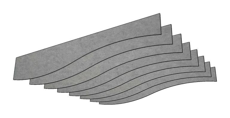 J2 PET Felt Wave Baffle - Option A