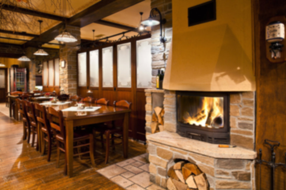 cosy fireplace in restaurant