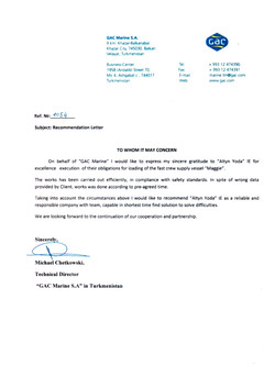 Reference letter from GAC Marine S.A.