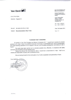 Reference letter from Van oord