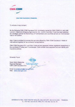 Reference letter from CMA CGM