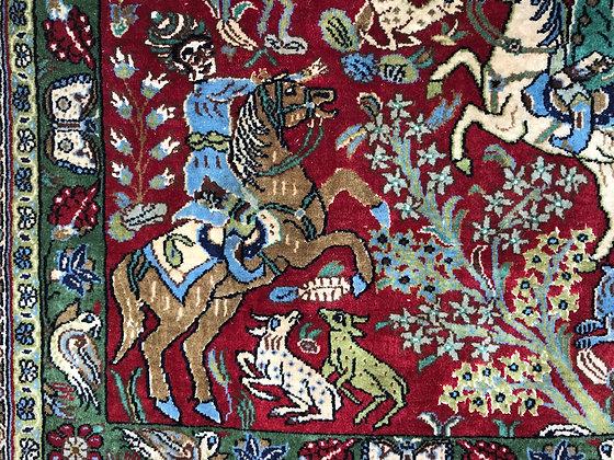 SOLD Pictorial carpet from Qum, Iran