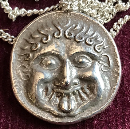 Solid silver Greek coin copy necklace - Gorgon