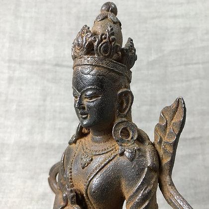 Well-made cast iron figure of the female Bodhisattva, Tara