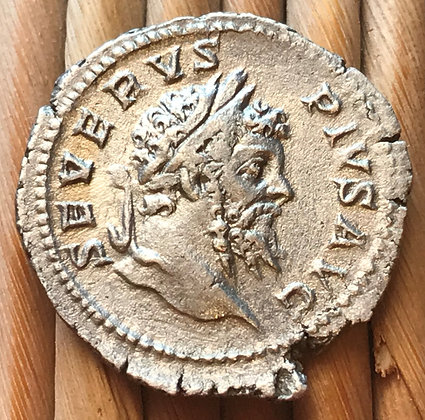 SOLD Roman silver coin issued by the emperor Septimius Severus, c. 201 - 210 AD.