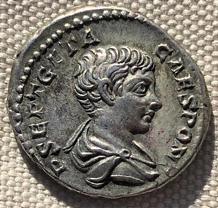 Roman silver denarius issued by Geta, son of Septimius Severus, circa 199 - 202