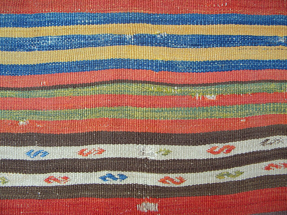 Central Anatolian striped kilim fragment mounted on linen