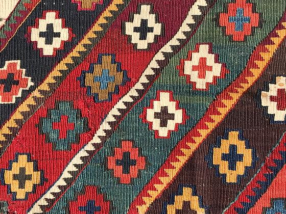 East anatolian kilim fragment mounted on linen