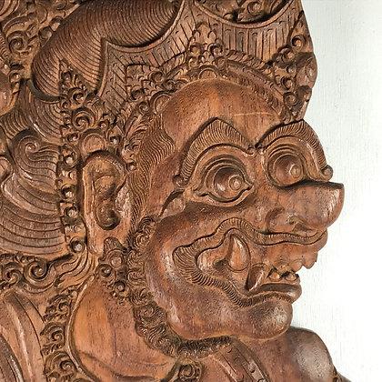 Balinese wood carving of the Batara Kala, Javanese god of the underworld