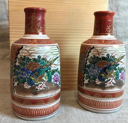 Two Japanese Kutani sake bottles in original wooden box